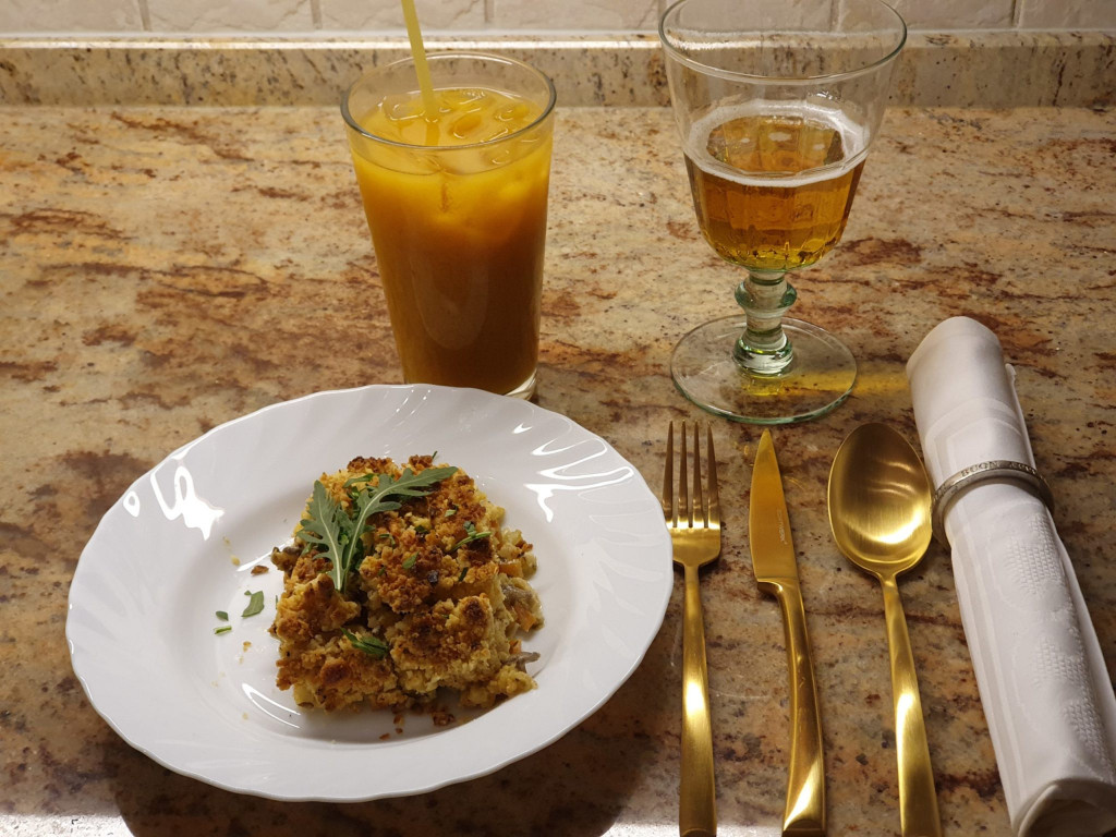 Huhn-Crumble mit Cider